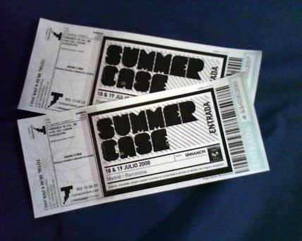 Entradas para el Summercase 2008